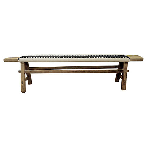Antique Shandong Bench w/ Mud Cloth