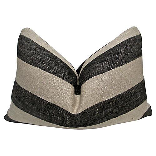 Black & Sand Cabana Linen Pillow