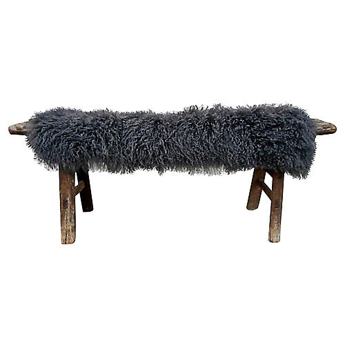 Antique Shandong Bench w/ Lambswool