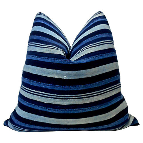 Mali Indigo Striped Pillow
