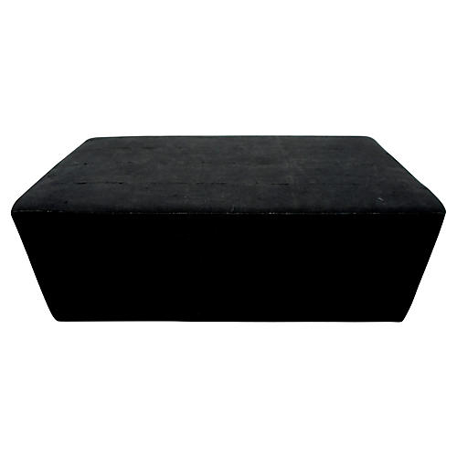 Custom Black Mud-Cloth Ottoman