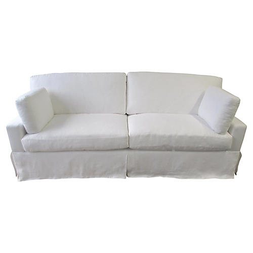 Custom White Linen Skirted Sofa