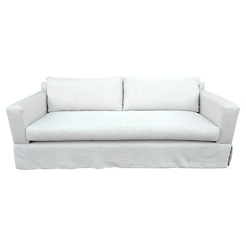 Custom Flax Linen Skirted Sofa