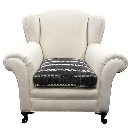 1930s Berber Bergere Wing Chair