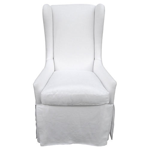 Custom Skirted Linen Wing Chair