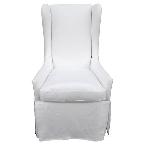Custom Skirted Linen Wing Chair