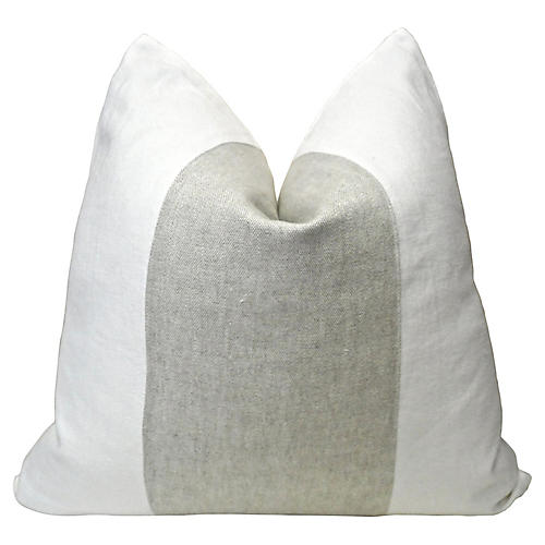 Belgian Washed Linen Banded Pillow