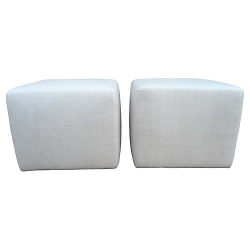 Antique French Linen Cube Ottomans, Pair