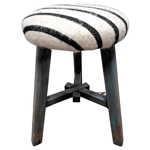 Vintage Shandong Stool w/ Berber Wool
