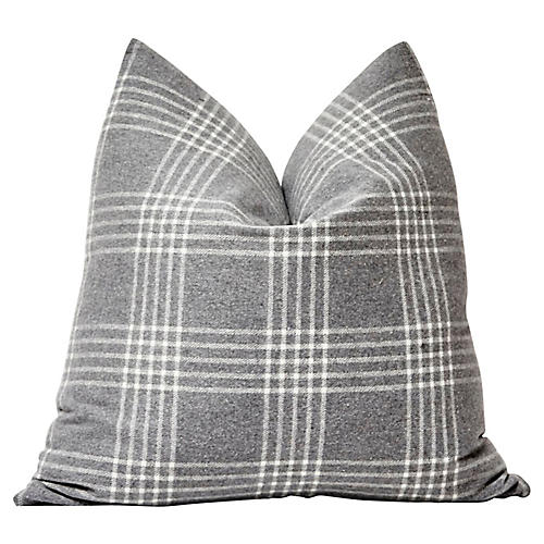 Gray Plaid Flannel Pillow