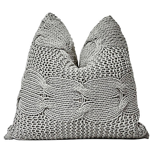 Gray Chunky Cable Knit & Chambray Pillow