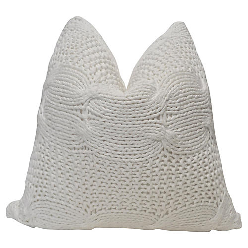 White Chunky Cable Knit & Linen Pillow