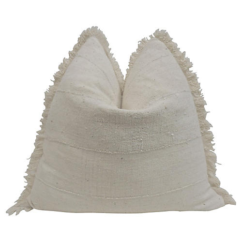 Natural Hand-Woven Fringe Pillow