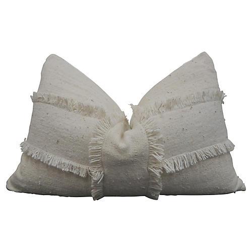 Natural Fringe Banded Mud Cloth Pillow