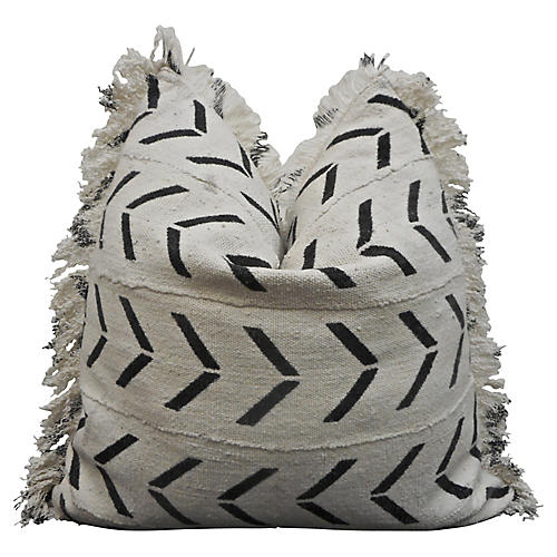 Organic Fringed Mud Cloth & Linen Pillow