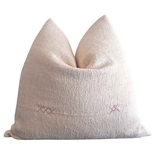 Vintage Natural French Linen Pillow
