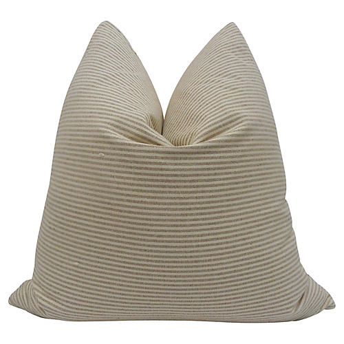 Toffee & Natural Woven Ticking Pillow