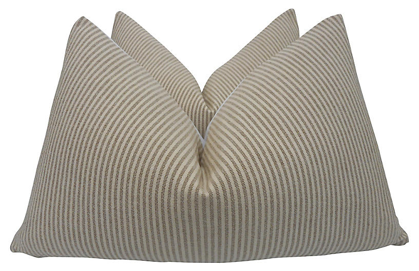 Toffee & Natural Woven Pillows, Pr