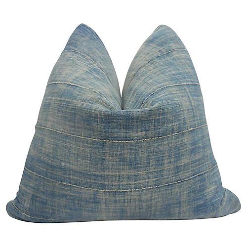 Faded Tribal Indigo Blues Pillow