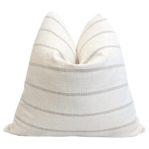 French Natural Linen Sand Stripe Pillow