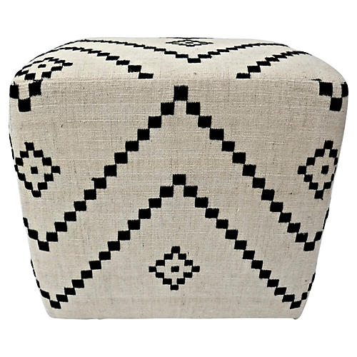 India Organic Hand-Spun Wool Ottoman