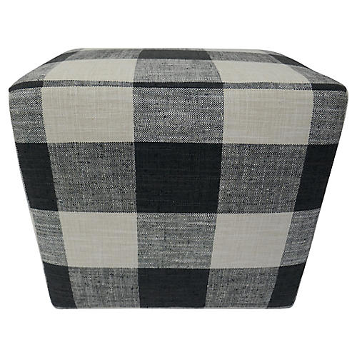 French Buffalo Plaid Ottoman