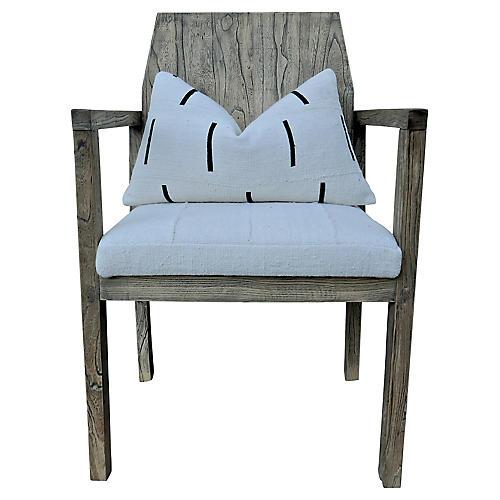 Elmwood Armchair w/ Natural Mud Cloth