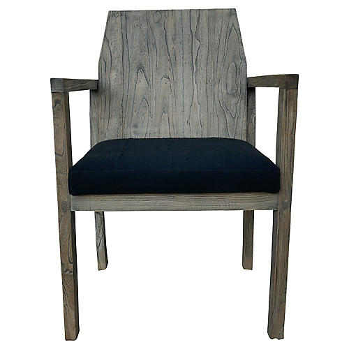 Elmwood Armchair w/ Black Mud Cloth