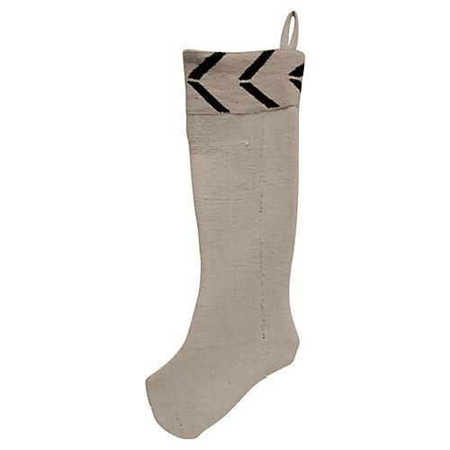 Natural Mud-Cloth Holiday Stocking