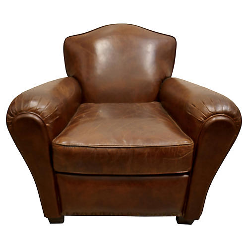 French-Style Tobacco Leather Club Chair