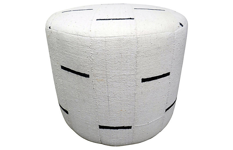 Natural Organic Mud Cloth Ottoman