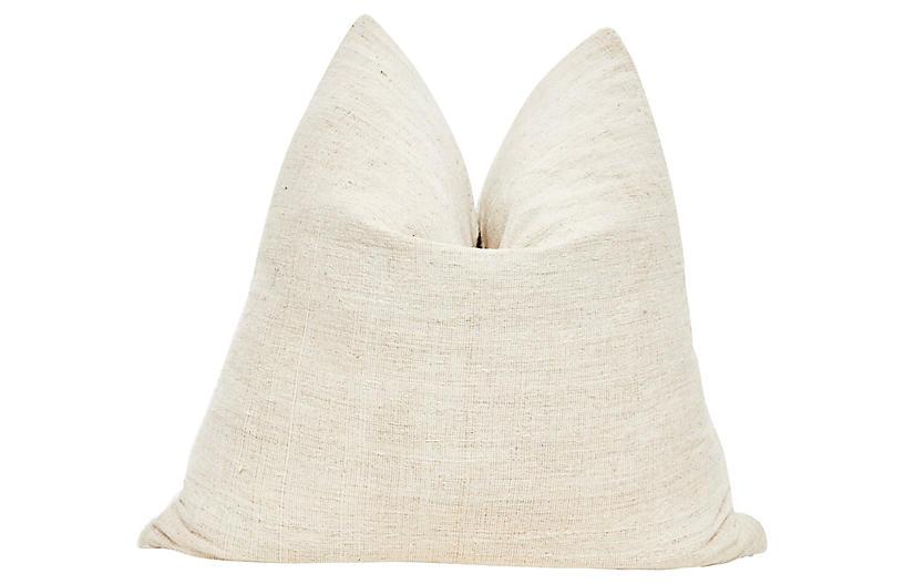 French Natural Hand-Spun Linen Pillow