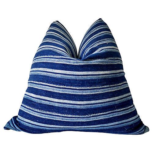 African Handspun Indigo Pillow