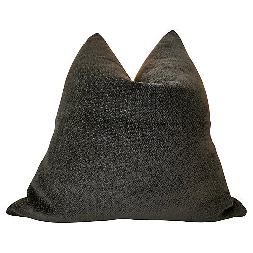 Italian Charcoal Chenille & Linen Pillow