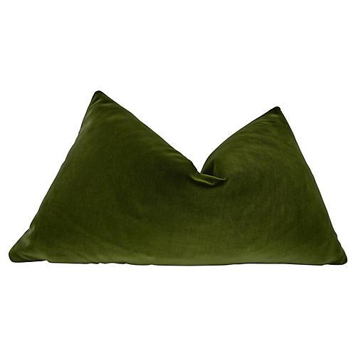 Belgian Olive Velvet Pillow