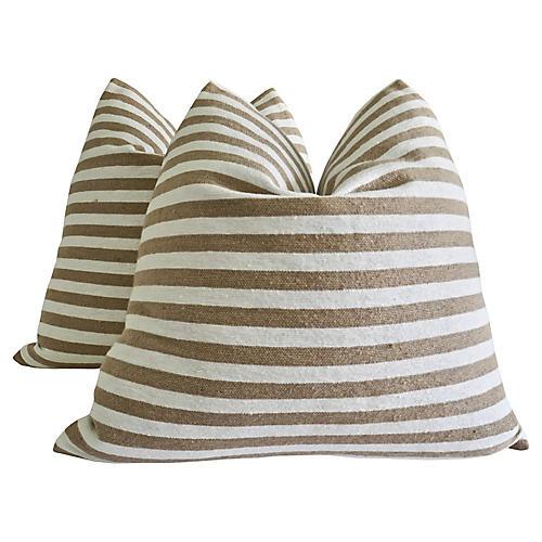 Berber Desert & White Pillows, S/2