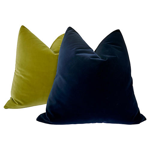 Belgian Ink & Citrine Pillows, S/2