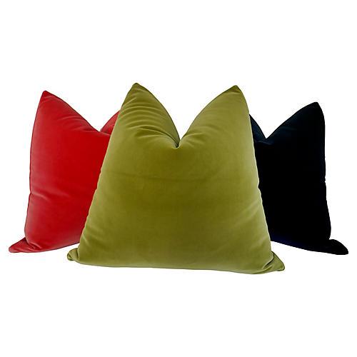 Belgian Velvet Pillows, S/3