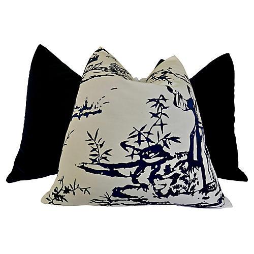 Scalamandré & Velvet Pillows, S/3