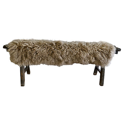 Antique Shandong Bench w/ Tibetan Wool
