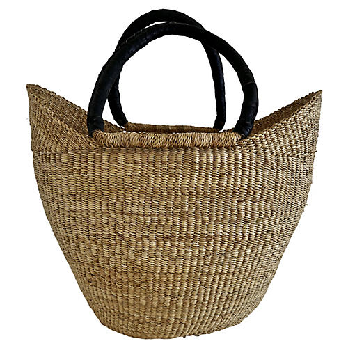 African Rattan & Leather Basket/Tote