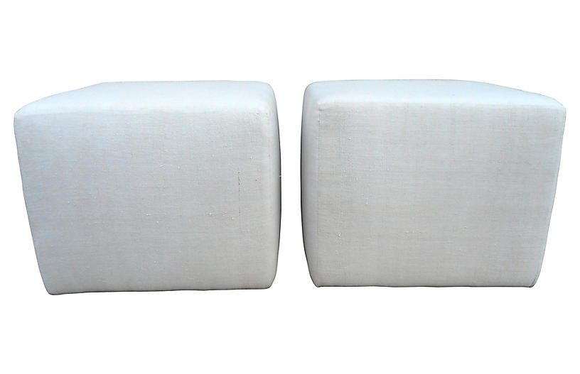 Natural European Linen Ottomans, pair