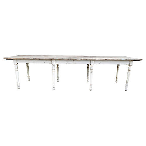 European X-Long Vintage Eight Leg Table