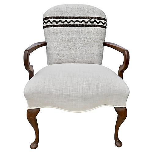 Vintage Armchair w/ Kilim & Gitano Linen