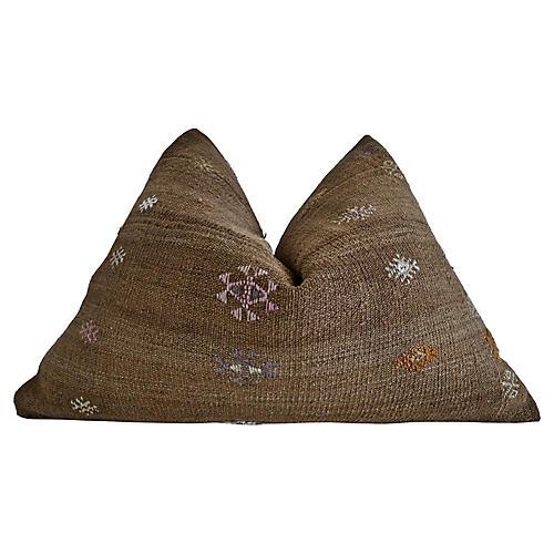 Berber Tribe Kilim Wool Rug Pillow, Lg