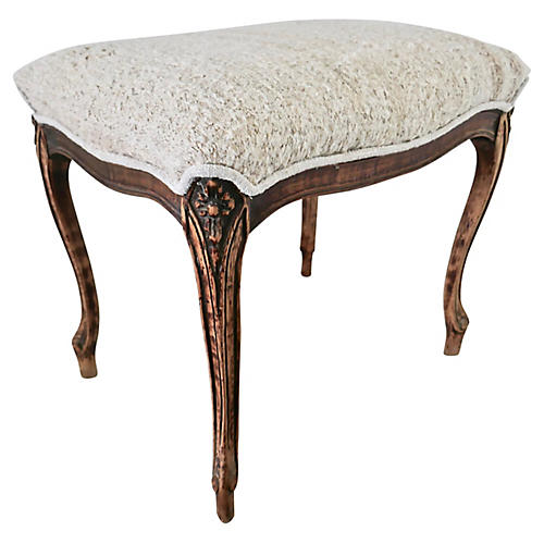 Vintage Louis XV Style Carved Ottoman