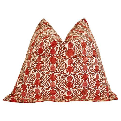 Organic Hand-Block Cotton & Linen Pillow