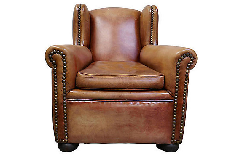 French Leather Wingback Club Chair