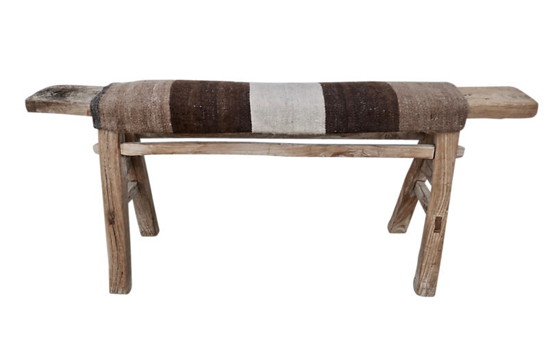 Antique Shandong Bench w/ Turkish Kilim