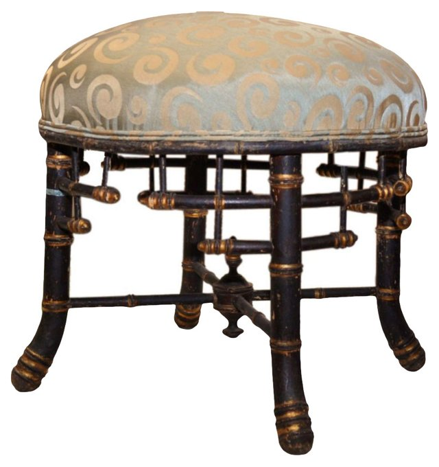 Antique Belgian  Chinoiserie Footstool